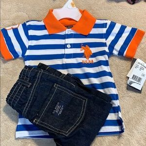 U.S POLO BOYS SIZE 12 MONTH - 2 PIECE SET
